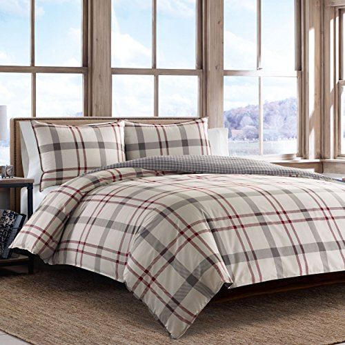 Eddie Bauer Portage Bay Duvet Cover Set, Full/Queen, Grey Bay Duvet Cover Set