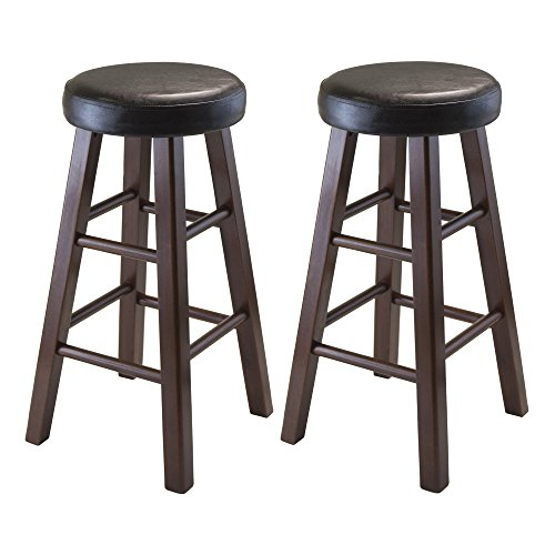 Winsome Wood Marta Assembled Round Counter Stool with PU Leather Cushion Seat, Square Legs, 25.4-Inch, Set of 2 (24 Inch Round Bar Stool)