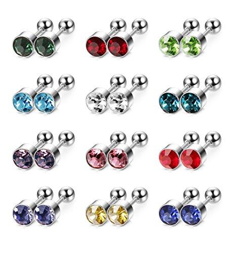 LOYALLOOK+12pairs+Crystal+Stainless+Steel+Stud+Earrings+Piercing+Barbell+Studs+Cartilage+Helix+Ear+Piercing+4mm
