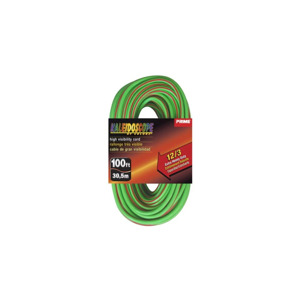 Prime Wire & Cable KC500540 100 Foot 12/3 SJTW Kaleidoscope Extra Heavy Duty Outdoor Extension Cord with Prime light Indicator Light, Lime Green and Red