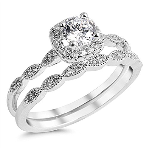 Round Solitaire White CZ Wedding Ring Set .925 Sterling Silver Band Size 9