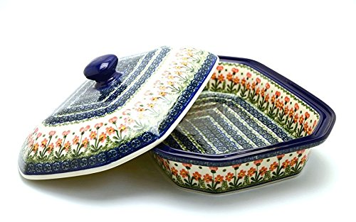 (Polish Pottery Baker - Rectangular Covered - Large - Peach Spring)