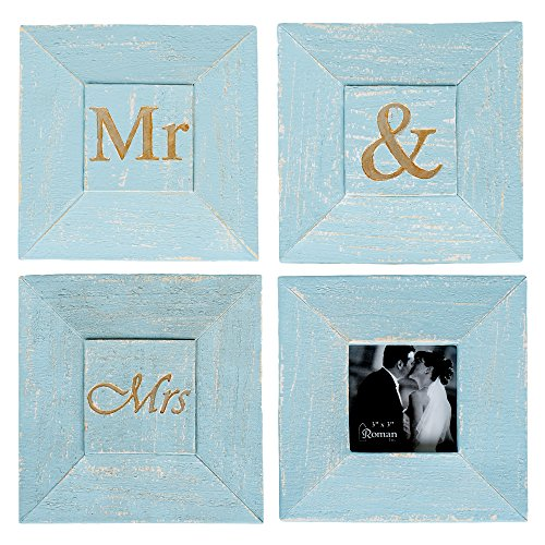 (Mr & Mrs Turquoise Blue Wall Art Sign Plaques with 3 x 3 Picture Frame, Set of 4)