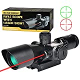 MidTen Rifle Scope 2.5-10x40e Dual Illuminated Mil-dot Gun Scopes with Red Laser & 11mm/20mm Mounts For Sale