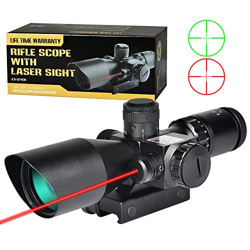 MidTen 2.5-10X Scope Dual Illuminated Mil-dot Optics with Red Laser & 20mm Mounts (2.5-10x40E) (Best 22 Caliber Scope)