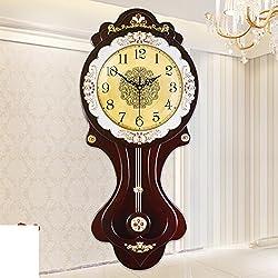 YYL Living Room Retro Wall Clock In Europe And America,Modern Garden Silent Clock,Creative Beautiful Pendulum Clocks-C