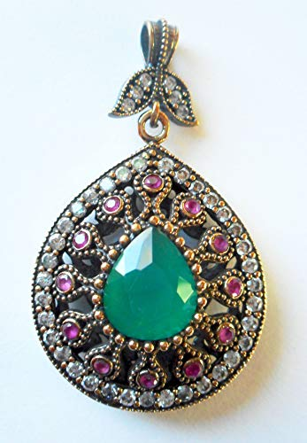 (Vintage Turkish Ottoman Pendant 925 silver gold vermeil ruby emerald and diamond pear shaped)