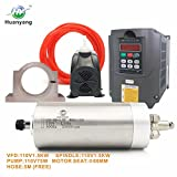 VFD CNC Spindle Motor Kits:110V 1.5KW VFD+110V 1.5KW 3 Bearings Water Cooled Spindle Motor+110V 75W Water Pump+80mm Motor Clamp Mount+5m Water Pipe (110V-1.5KW VFD,1.5kw 3 Bearings Motor)