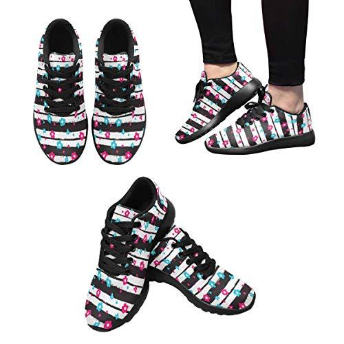 Running and InterestPrint Sneaker Design Flower Custom 9 Women's on White Black Small qq8EZB1