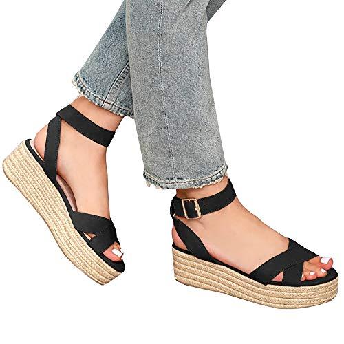 (Syktkmx Womens Strappy Flatform Espadrille Sandals Summer Slingback Platform Ankle Strap Sandals D-Black)