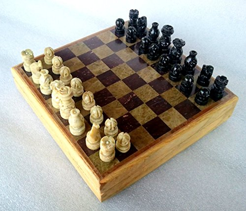 Hand Set Chess Decorated - Etsibitsi Handmade Wooden Chess Board, Premium Quality, Smooth Surface, Marble Foil Carved, Hand Carved Stone pcs, Classic Profesional Tournament Game Set - 8 x 8 Inches