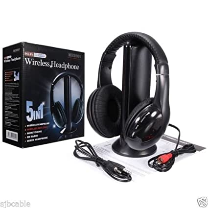 c86a5d8458a Amazon.com: New 5 in 1 Hi-Fi Wireless Headset Headphone Earphone for TV DVD  MP3 PC Black: Musical Instruments