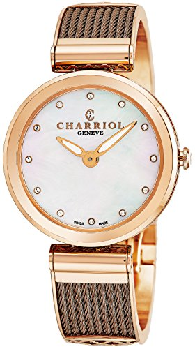 Charriol Forever Womens Stainless Steel Rose Gold Watch - 32mm Analog Mother of Pearl Face Ladies Dress Watch with Fake Diamonds - Bronze Twisted Cable Band Swiss Quartz Luxury Watch ()