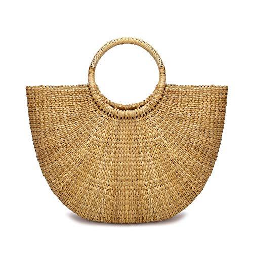 JOLLQUE Hand Woven Womens Beach Grass Tote Bags, Natural Straw Handbag Purse (Grass-4)