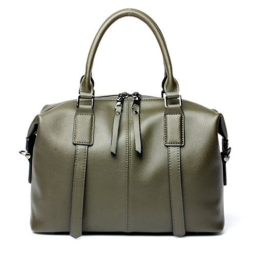 Mimi King Shoulder Bags Hand Bag Ladies Fashion Genuine Leather Crossbody Bags 32 * 15 * 22cm, Black Armygreen