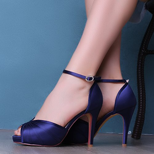 692a92c71 ERIJUNOR Women s High Heel Sandals Ankle Strap Satin Evening Party Prom  Wedding Shoes