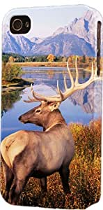 Big Game Elk At Mountain Lake Plastic Snap On Flexible Decorative Apple iPhone 4/4s Case
