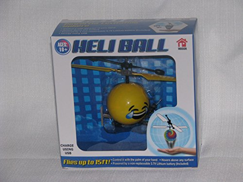 Heli Ball Flying Helicopter Balls - Ninja, Skeleton or Emoji Face - Hovers 15 ft with Palm (Choose Your Favorite) (Laughing/Crying)