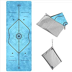 WWWW PIDO Travel Yoga Mat Suede Natural Rubber Non Slip Gym Mat with Canvas Bag,72″x26″ Foldable 1/16 Inch Ultra-Thin mat for Yoga Pilates Fitness Exercise (MeiGuiTiWeiXian)