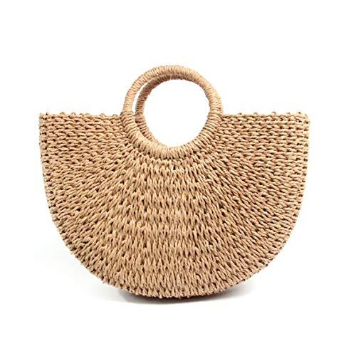 messenger sac à tissé de dames occasionnels tricoté demi cercle sac plage de la en à sacs rotin solide main couleur mode paille Vintage nBgPqpx