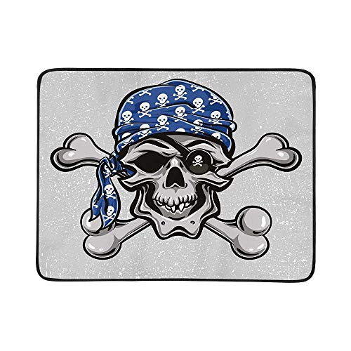 YOLIYANA Skull Utility Beach Mat,Scallywag Pirate Dead Head Grunge Horror Icon Evil Sailor Crossed Bones Kerchief for Home,One Size]()
