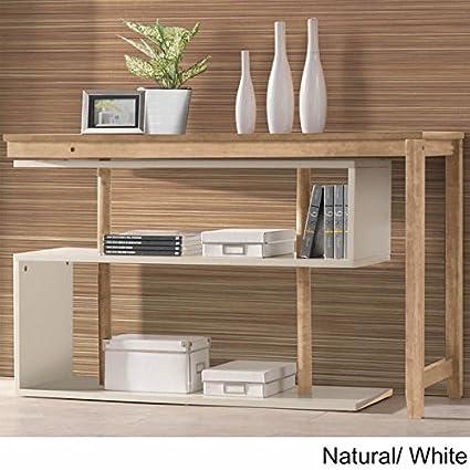 International Caravan Hamburg Contemporary Swing Out Desk Bookshelf Natural White