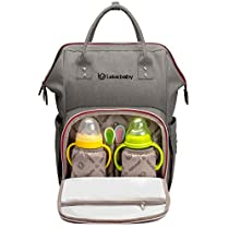 Lekebaby Multi-function Baby Diaper Bag Backpack Waterproof for Mom and Dad in Grey with Changing Pad & Insulated Pockets & Stroller Straps