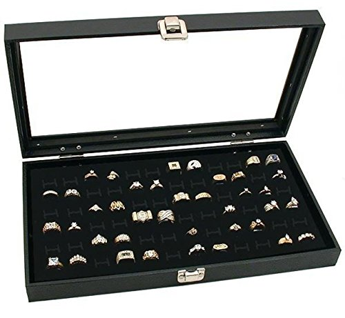 72 Slot Black Jewelry (RJ Displays- Glass Top Black Jewelry Display Case 72 Slot for Rings, pendant, Earrings and Gemstone Tray. Comes with Free Quality Jewelry Polishing Cloth)