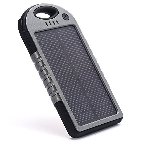 EFOSHM Power bank,Solar Charger,[5000 mAh USB Solar Panel Charger] Waterproof,Dust-Proof,Shock-Resistant,Self Timer,SUNPOWER Solar Cell,External Battery for iPhone 6s 6 Plus,iPad ,Samsung (Black G) from EFOSHM