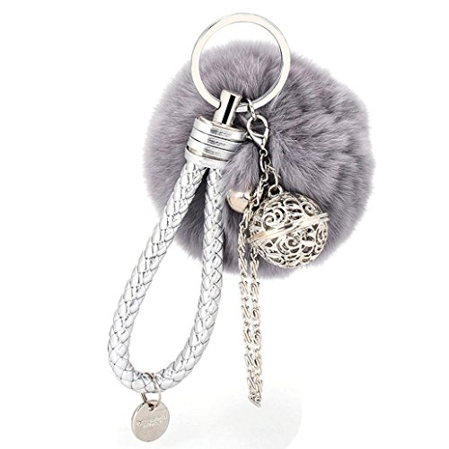 BCDshop Cute Cute Faux Fur Ball Cell Phone Car Keychain Pendant Handbag Charm Key Ring Xmas Gift (Grey, alloy)