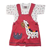A Cute Giraffe Printed Textile Dungaree With Half Sleeves Tee Set for Kids