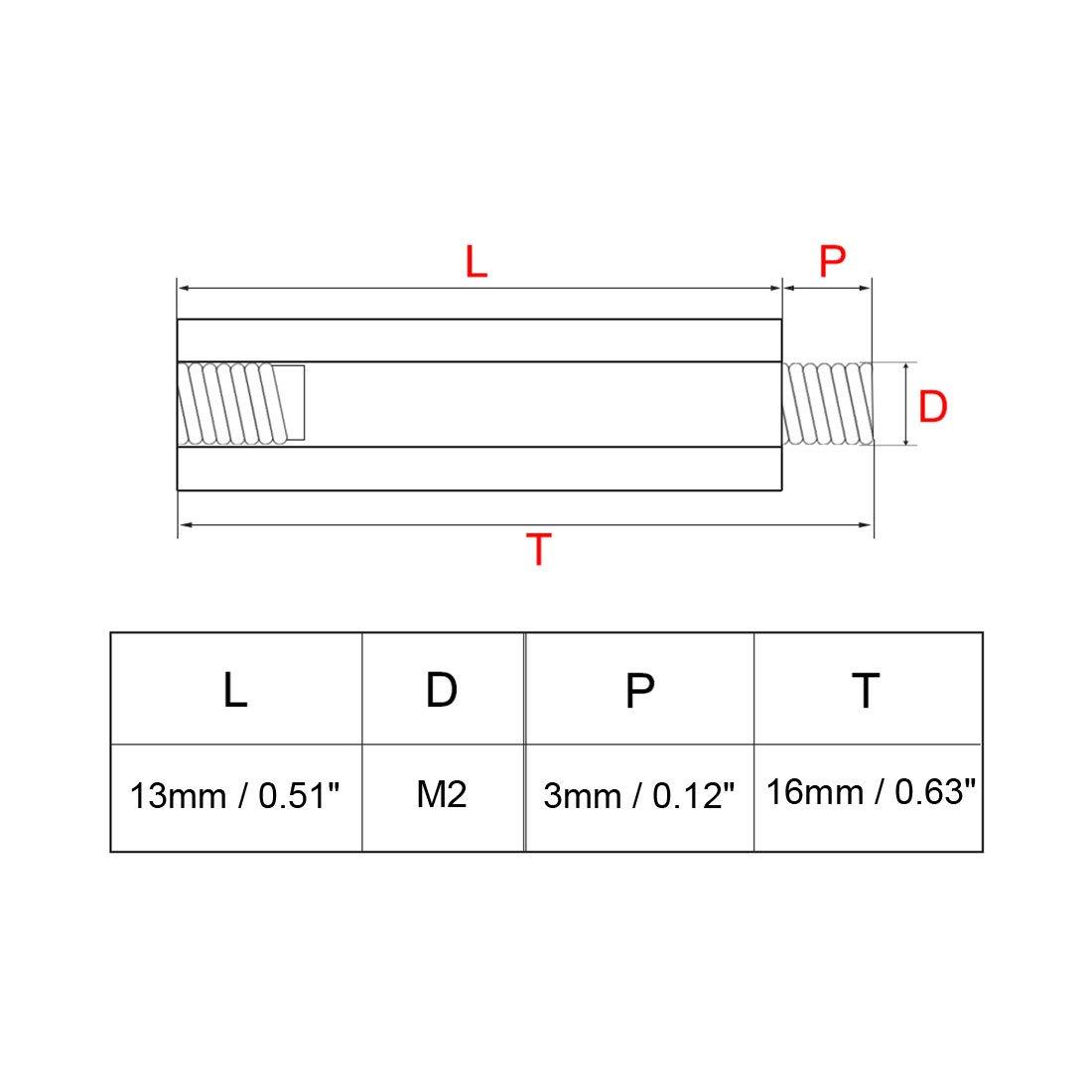sourcing map 20pzas Separadores redondos M2 29+3mm rosca macho de lat/ón tornillo separador Soporte PCB