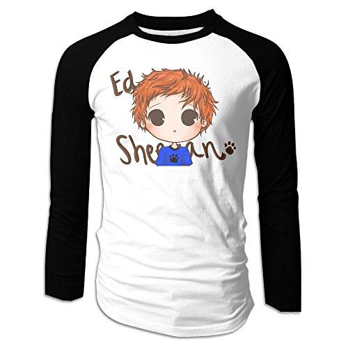 Creamfly Mens Ed Sheeran Cartoon Long Sleeve Raglan Baseball Tshirt XL