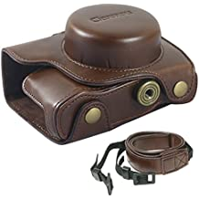 Clanmou EM10 Mark II Protective Camera Bag for Olympus OM-D E-M10 M2(14-42mm) Leather Camera Case Cover with Camera Shoulder Strap Coffee