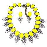 Zthread Lux Statment Necklace Leaf Crystal Choker Eveing Dress Brial Jewelry Necklace Earrings Set for Women (Yellow-2)