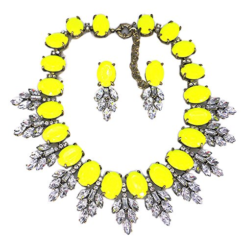 Beaded Yellow Jewelry Set - Zthread Lux Statment Necklace Leaf Crystal Choker Eveing Dress Brial Jewelry Necklace Earrings Set for Women (Yellow-2)