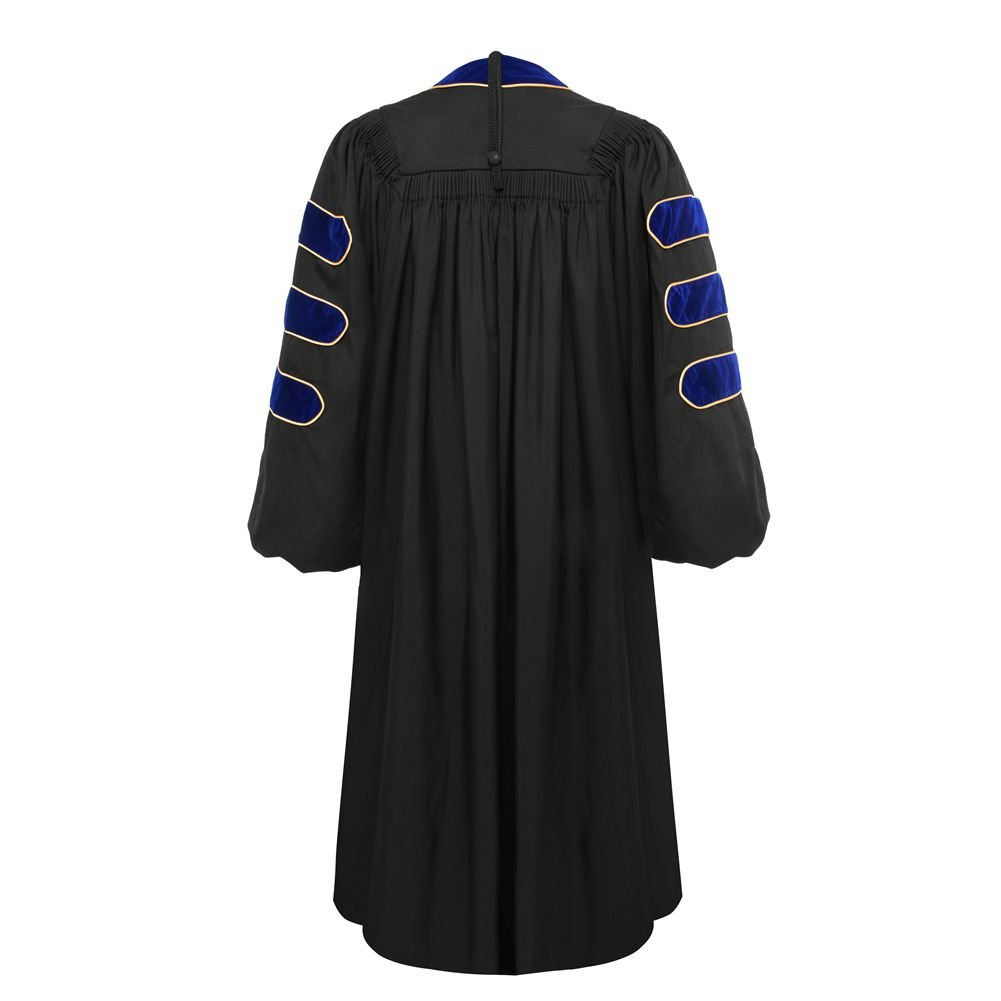 Deluxe Doctoral Graduation Gown-Royal Blue Trim Gold Piping(Royal Blue Size 54) by lescapsgown (Image #3)
