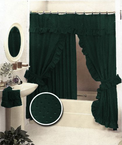 Amazon New Double Swag Fabric Shower Curtain Set Hunter Green