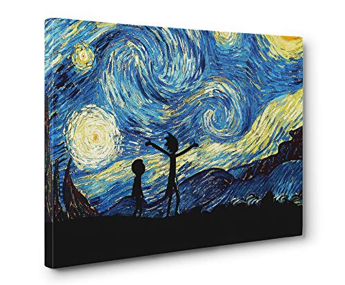 Rick and Morty Starry Night Wall Art Gallery Wrapped Canvas Print (12x18in. Small)