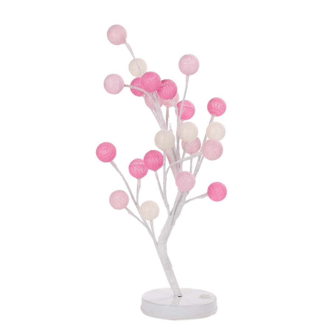 Night Lights,Cotton Ball Desk Decorative Lights for Bedroom/Desk Top Bonsai Tree Light Christmas Decor lights With 24 LED Beads (Pink)
