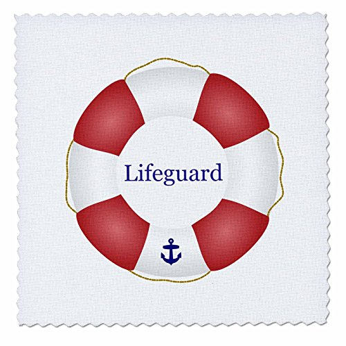 3dRose Lifeguard Lifesaver Swimming Pool Saver Preserver-sea Beach Life Guard red and White Float-Quilt Square, 12-inch (qs_112970_4)