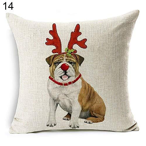 Bulldogs Santa Pillow (attrasfjwanrw Vintage Style Dog Santa Claus Reindeer Pattern Cushion Cover Throw Pillow Case Christmas Series Sofa Decor #14 Taschentucher Xmas Bulldog)