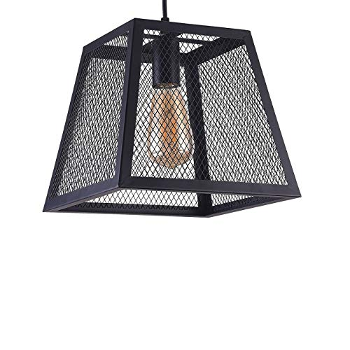 Wideskall 1-Bulb Industrial Mesh Square Lantern Mini Pendant Lighting Fixture, 10-inch Shade, Matte Black Finish ()