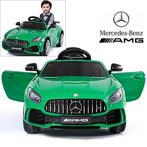 (Licensed Mercedes Benz AMG GTR Coupe Electric Ride On Car with 2.4G Remote Control, LED Light, MP3 Socket, 12V 2 Motors - Green)