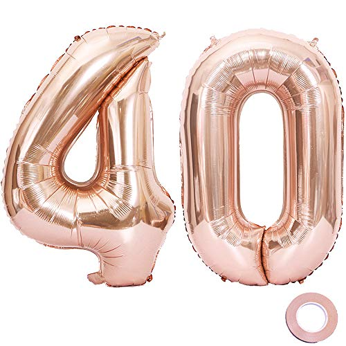 Juland Rose Gold Number 40 Balloons Large Foil Mylar Balloons 40 Inch Giant Jumbo Number Balloons for 40th Birthday Party -