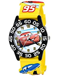 Disney Cars Kids W001505 Yellow 3D Plastic Strap Watch
