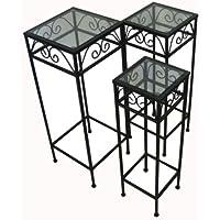 Nesting Tall Square Tables Set of Three - Black