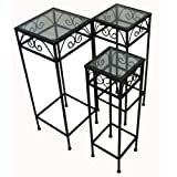Nesting Tall Square Tables Set of Three - Black
