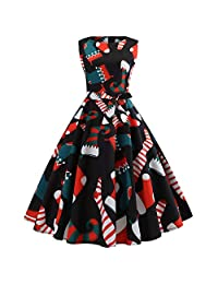 FarJing Women's Vintage Print Christmas Evening Party Swing Dress