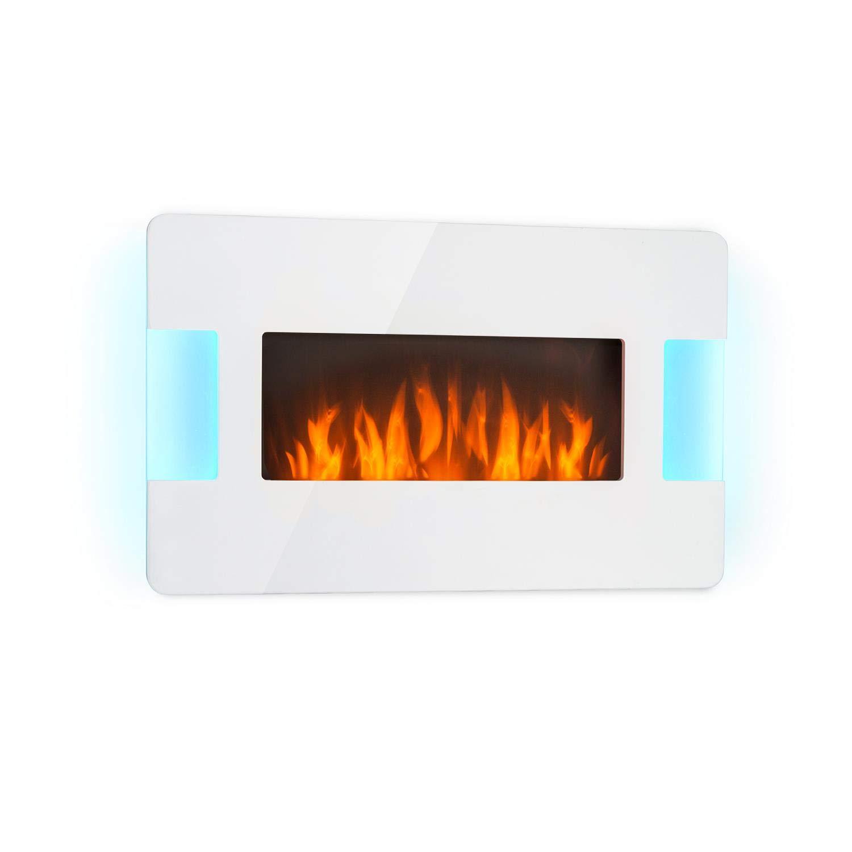 Klarstein Belfort Light & Fire Elektrischer Kamin mit Flammeneffekt • Elektrokamin • E-Kamin • 1000 oder 2000 Watt • Thermostat • Timer • Ambiente-Beleuchtung • Fernbedienung • Wandmontage • weiß